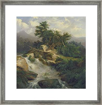 Forest Landscape With Waterfall  Framed Print by Julius Bakof