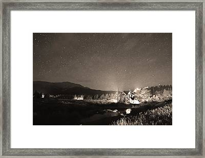 Forest Of Stars Above The Chapel On The Rock Sepia Framed Print by James BO  Insogna