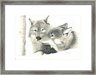 Forever Wolf Love-the Greeting Framed Print by Joette Snyder
