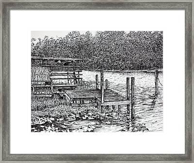 Forgotten Dock Framed Print by Janet Felts