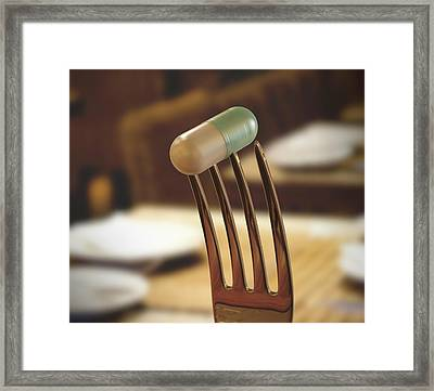 Fork And Capsule Framed Print by Ktsdesign