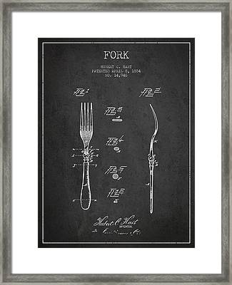 Fork Patent From 1884 - Dark Framed Print by Aged Pixel