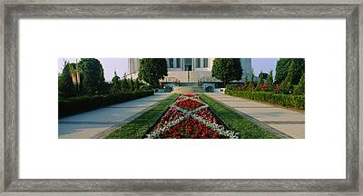 Formal Garden In Front Of A Temple Framed Print by Panoramic Images