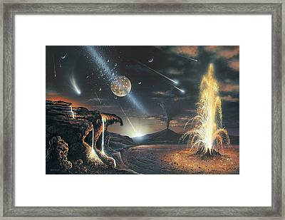 Formation Of The Moon, Artwork Framed Print by Science Photo Library