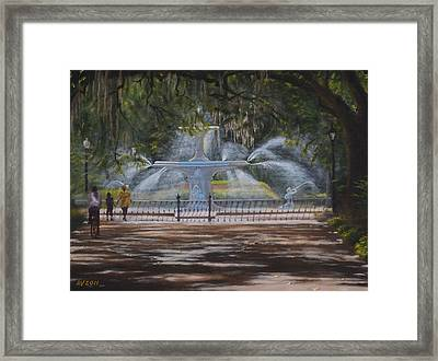 Forsyth Park Fountain Savannah Ga Framed Print by Alex Vishnevsky