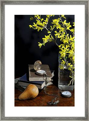 Forsythia And Pocket Watch Framed Print by Diana Angstadt
