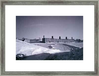 Fort Crown Point Ruins In Winter Framed Print by David Fiske