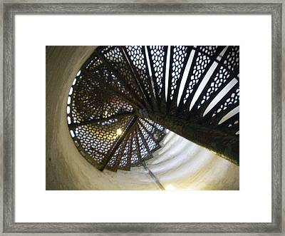 Fort Gratiot Lighthouse Staircase Framed Print by Cynthia Hilliard