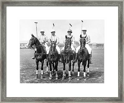 Fort Hamilton Polo Team Framed Print by Underwood Archives