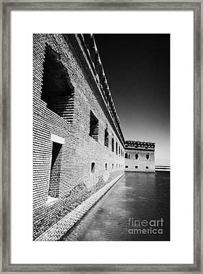 Fort Jefferson Brick Walls With Moat Dry Tortugas National Park Florida Keys Usa Framed Print by Joe Fox
