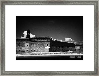 Fort Jefferson Walls With Garden Key Lighthouse Bastion And Moat Dry Tortugas National Park Florida  Framed Print by Joe Fox