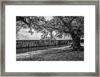 Fort Pike Approach In Black And White Framed Print by Andy Crawford