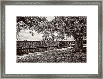Fort Pike Approach - Sepia Framed Print by Andy Crawford