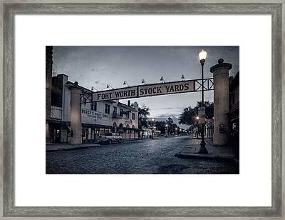 Fort Worth Stockyards Bw Framed Print by Joan Carroll