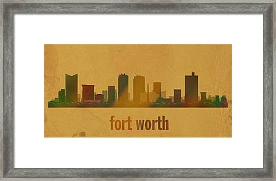 Fort Worth Texas City Skyline Watercolor On Parchment Framed Print by Design Turnpike