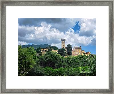 Fortress In The Tuscan Hills.pontedera Framed Print by Jennie Breeze
