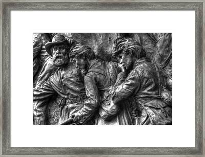 Forward Men - On My Lead.  State Of Delaware Monument Detail-i Gettysburg Autumn Mid-day. Framed Print by Michael Mazaika