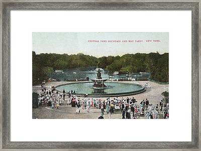Fountain And May Partin In Central Park In 1905 Framed Print by Patricia Hofmeester