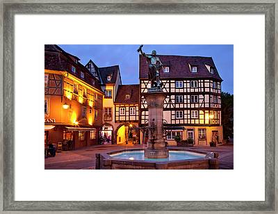 Fountain And Statue Of Baron Lazare De Framed Print by Brian Jannsen