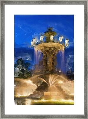 Fountain At Dusk Framed Print by Ayse Deniz