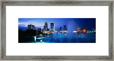 Fountain, Cityscape, Night Framed Print by Panoramic Images