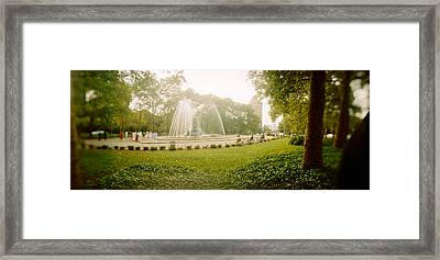 Fountain In A Park, Prospect Park Framed Print by Panoramic Images