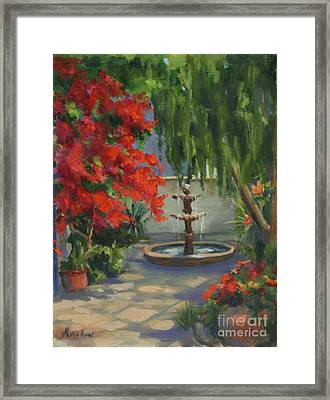 Fountain In The Courtyard Framed Print by Maria Hunt
