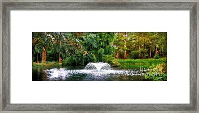 Fountain In The Park Framed Print by Kaye Menner