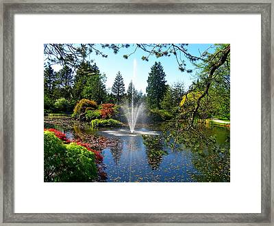 Fountain In Vandusen Garden Framed Print by Lena Photo Art