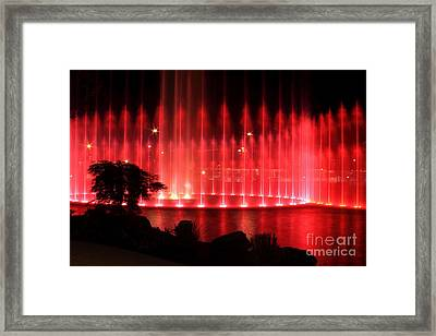 Fountain Of Red Framed Print by Geraldine DeBoer