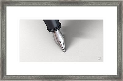 Fountain Pen In Writing Position Framed Print by Allan Swart