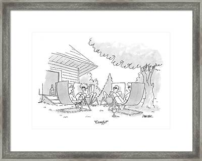Four Adults Sit Outside On Uncomfortable Looking Framed Print by Jack Ziegler