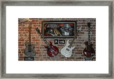 Vintage Four Autographed Guitars And Signed Record From Bands Avenged Sevenfold- The Off Spring  Framed Print by Renee Anderson