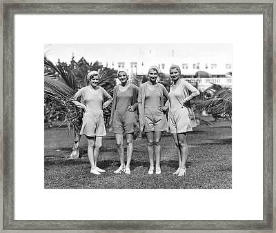 Four Bathing Suit Models Framed Print by Underwood Archives
