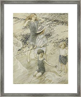 Four Children At The Seashore Framed Print by Arthur Rackham