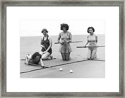 Four Girls Playing Sand Pool Framed Print by Underwood Archives