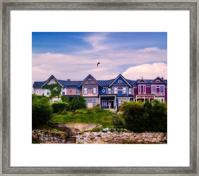 Four Homes On A Hill Framed Print by Ken Morris