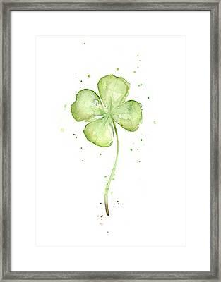 Four Leaf Clover Lucky Charm Framed Print by Olga Shvartsur
