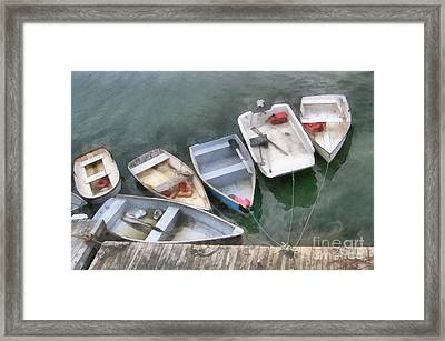 Four Little Five Little Six Little Dinghies  Framed Print by Helene Guertin