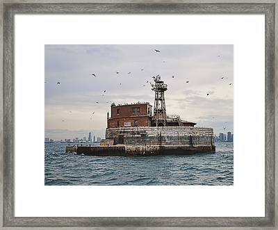 Four Mile Crib Lighthouse Framed Print by Phyllis Taylor