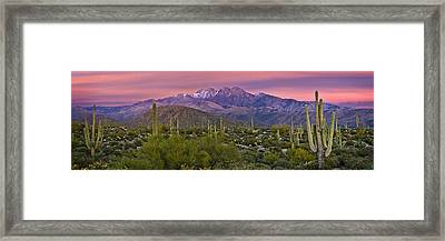 Four Peaks Sunset Panorama Framed Print by Dave Dilli