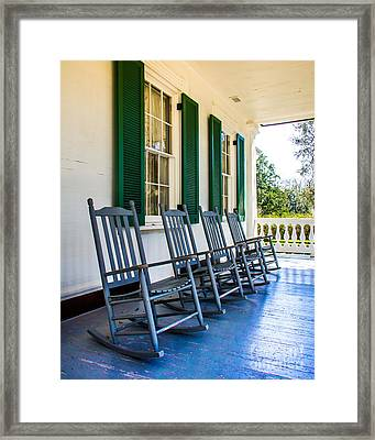 Four Porch Rockers Framed Print by Perry Webster