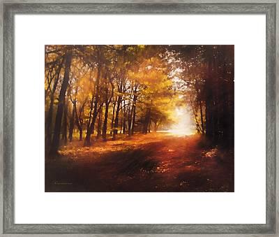 Four Seasons Autumn Impressions At Dawn Framed Print by Georgiana Romanovna