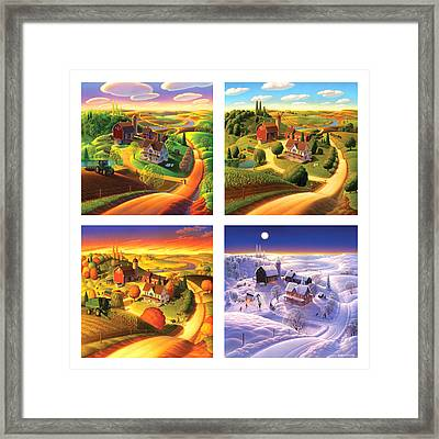 Four Seasons On The Farm Squared Framed Print by Robin Moline