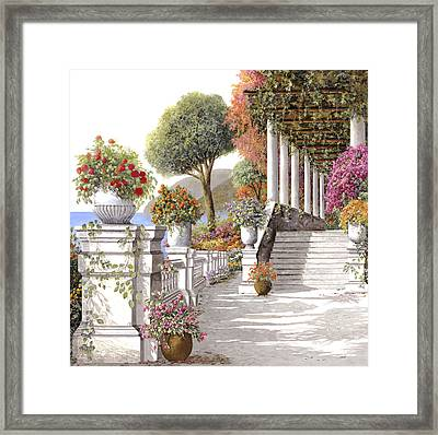 four seasons-summer on lake Como Framed Print by Guido Borelli