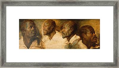 Four Studies Of Male Head Framed Print by Peter Paul Rubens