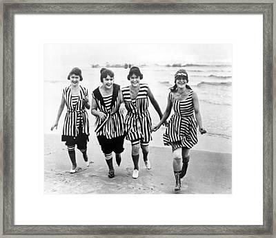 Four Women In 1910 Beach Wear Framed Print by Underwood Archives