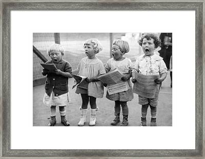 Four Young Children Singing Framed Print by Underwood Archives