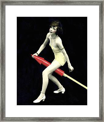 Fourth Of July Rocket Girl Framed Print by Underwood Archives