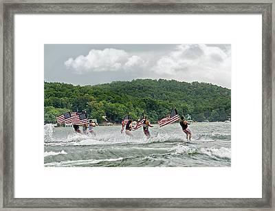 Fourth Of July Water Skiers Framed Print by Susan Leggett